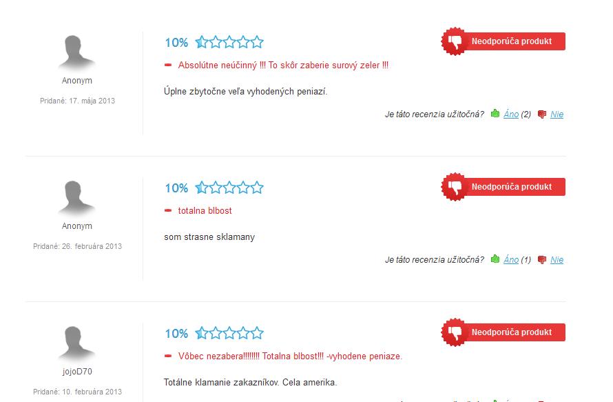 Takto vyzerajú hodnotenia na heureka.sk