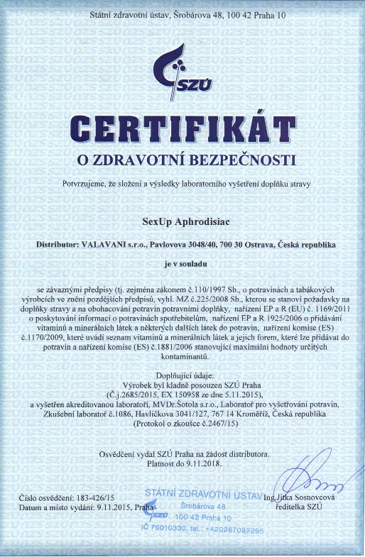 certifikát o zdravotnej bezpečnosti